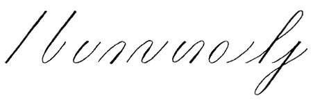 Copperplate calligraphy basic strokes. Can you see how this alphabet is based on the shape of an oval?