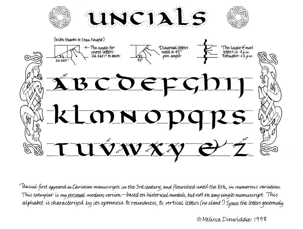 Uncials Calligraphy Alphabet Exemplar