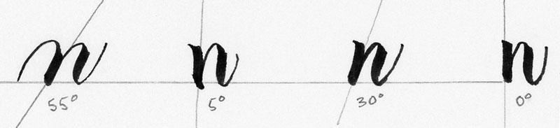 Different letter slant angles