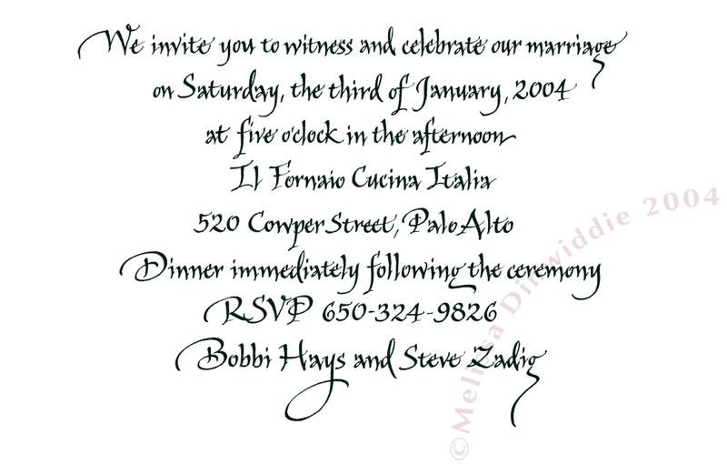 Sparks invitation: spiky, informal Italic calligraphy