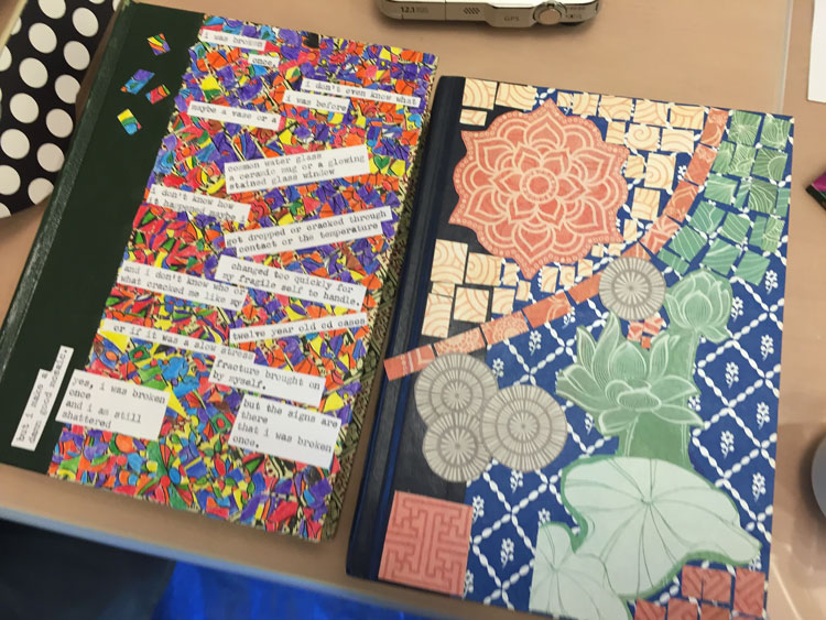 Amy's paper-mosaic book covers