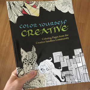 A snapshot of the print proof of Color Yourself Creative, the collaborative adult coloring book co-created by 17 members of my Creative Sandbox Community