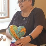 Randi with her mosaic heart-in-process