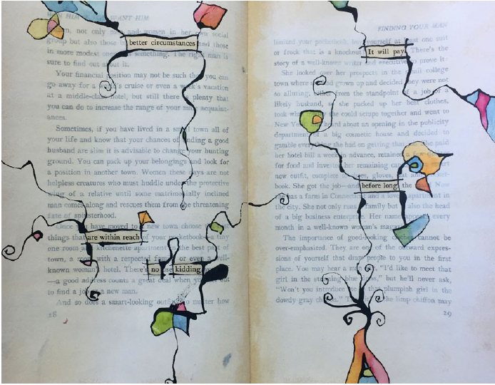 Better Circumstances - page spread from an altered book project
