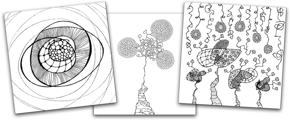 Abstract coloring pages from The Creative Sandbox Way by Melissa Dinwiddie