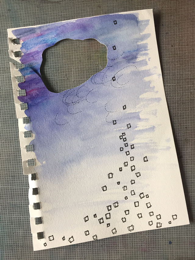 Sketchbook page with section cut out