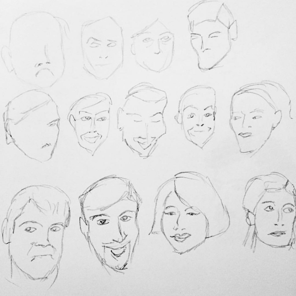 "Faces doodle from my ""early morning studio"" daily doodle session"