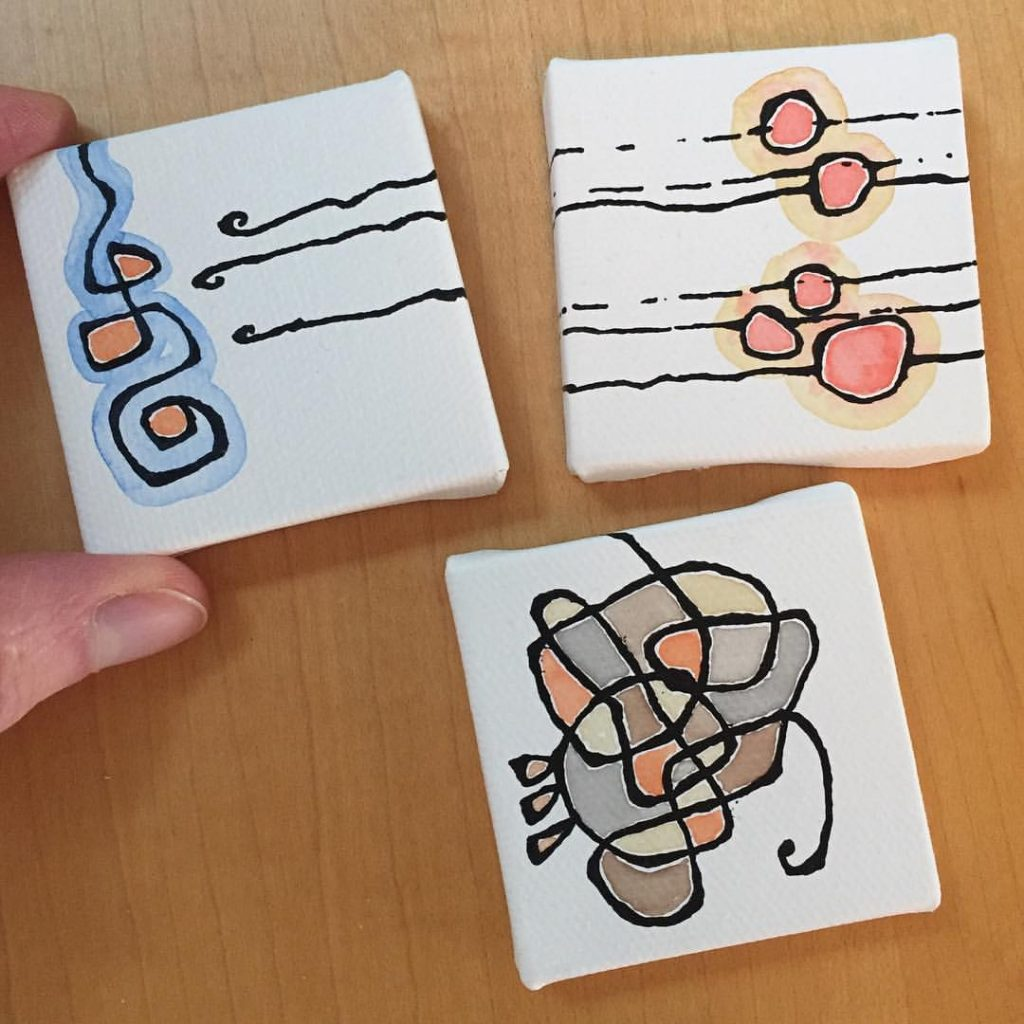 "Tiny canvases made during my ""early morning studio"" daily doodle time"