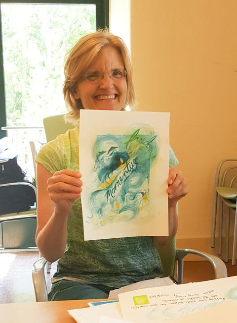 Pam sharing her beautiful watercolor at Creative Sandbox Retreat 2016