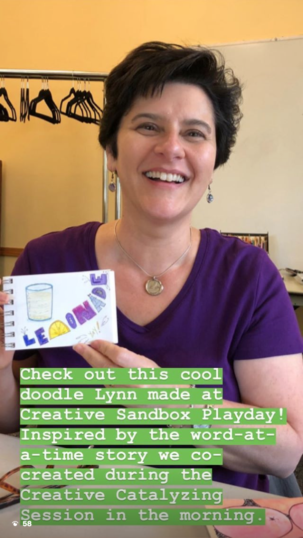 Lynn at the 10/14/18 Playshop with her Lemonade dodle