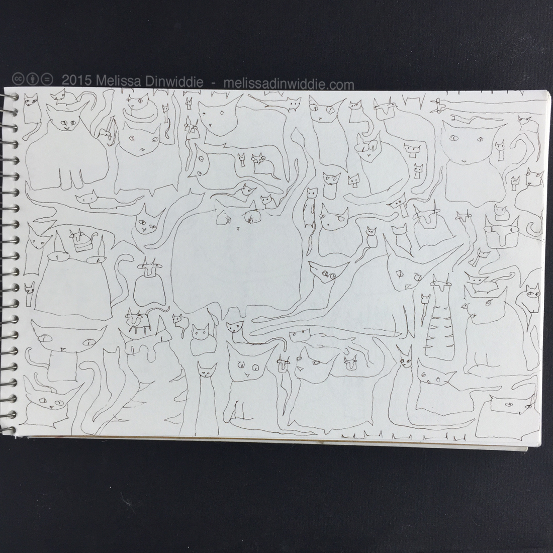 """A Page O'Kitties! - 5.5"""" x 8.5"""" drawing by Melissa Dinwiddie"""