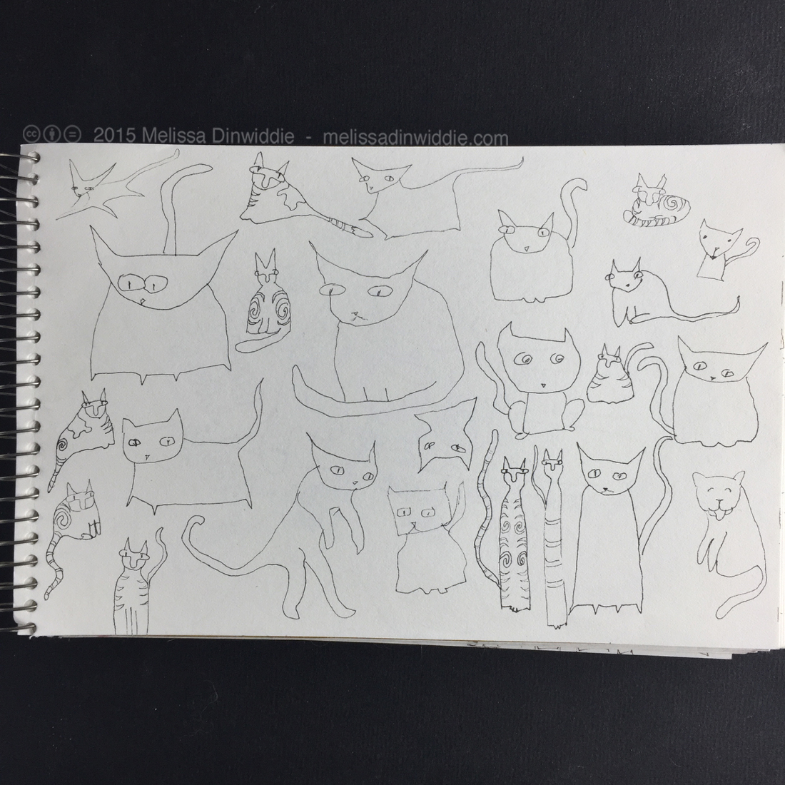 "Kitties with Patterns! - 5.5"" x 8.5"" drawing by Melissa Dinwiddie"