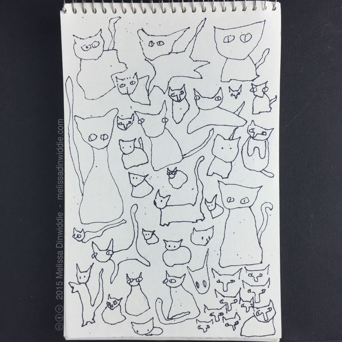 """Kitties! - 8.5"""" x 5.5"""" drawing by Melissa Dinwiddie"""