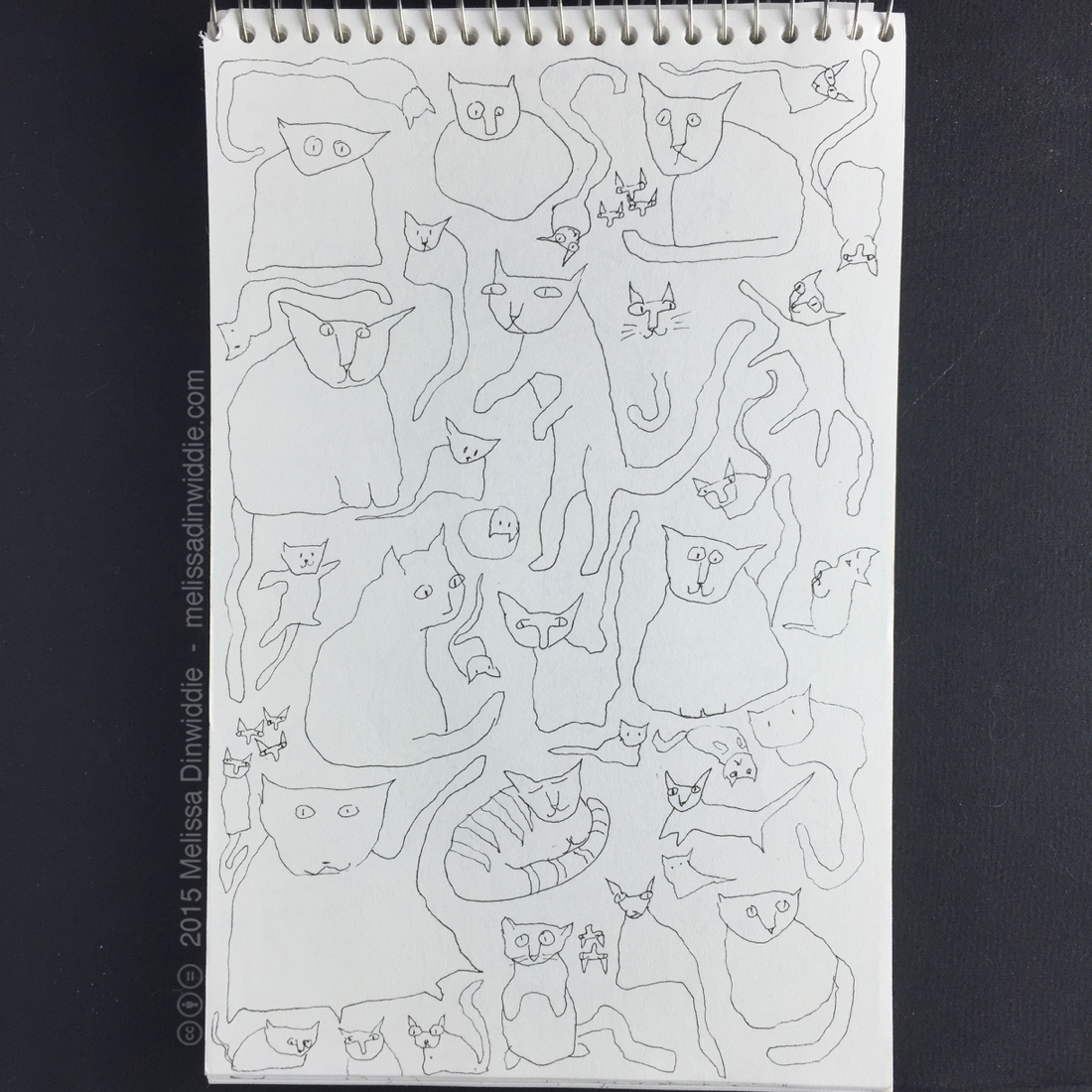 "More Kitties! - 8.5"" x 5.5"" drawing by Melissa Dinwiddie"