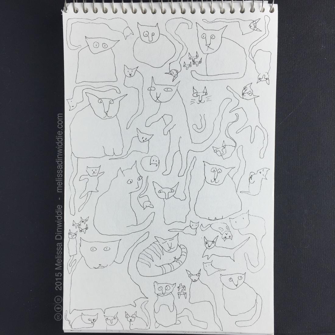 """More Kitties! - 8.5"""" x 5.5"""" drawing by Melissa Dinwiddie"""