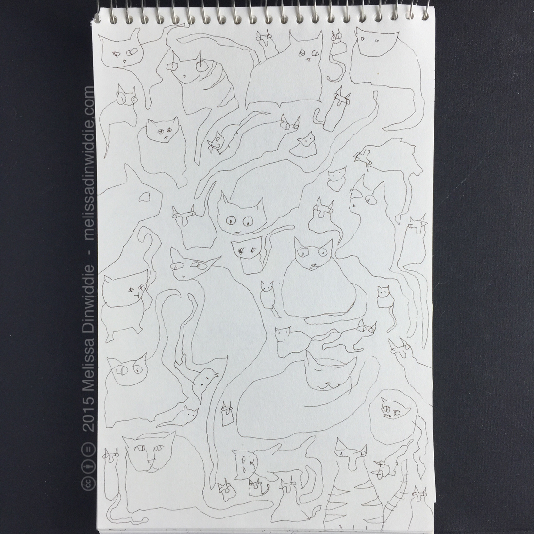 "And More Kitties! - 8.5"" x 5.5"" drawing by Melissa Dinwiddie"