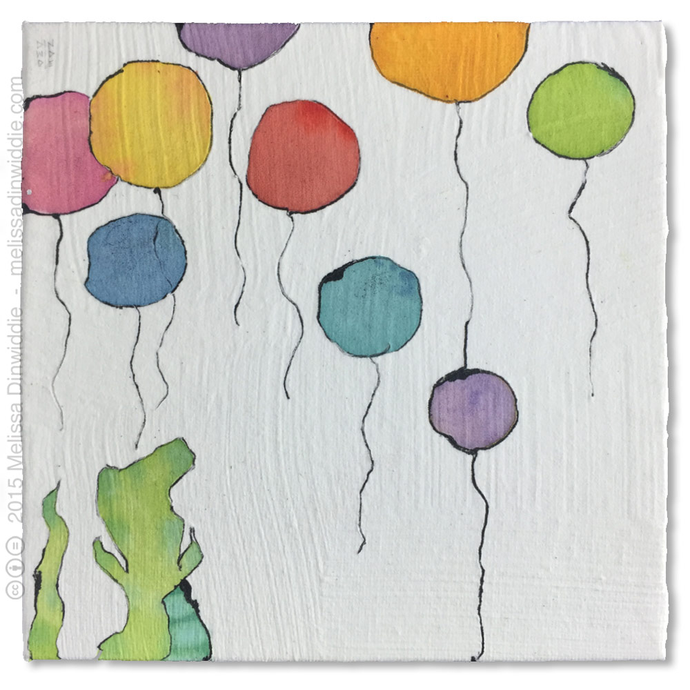 """Alligator Balloon Party 6"""" x 6"""" mixed media abstract daily painting by Melissa Dinwiddie"""