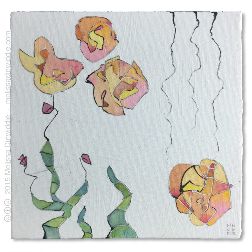 "Lisianthus - 6"" x 6"" mixed media abstract daily painting by Melissa Dinwiddie"